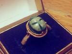 黄金绿松石圣甲虫戒指